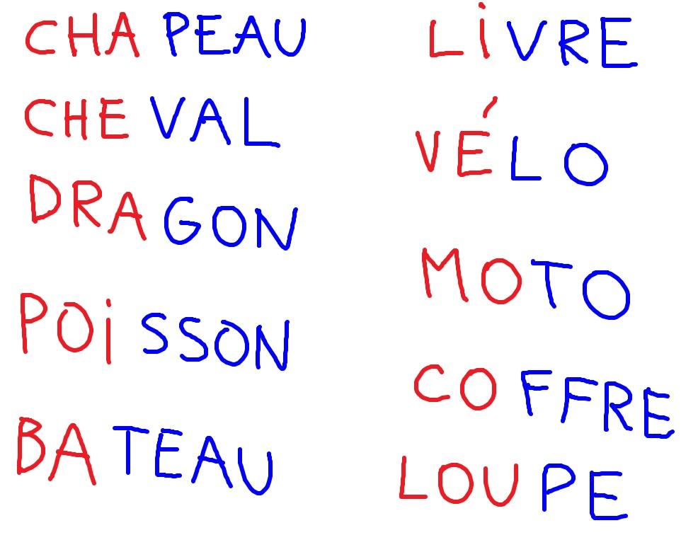 liste mots 2 syllabes