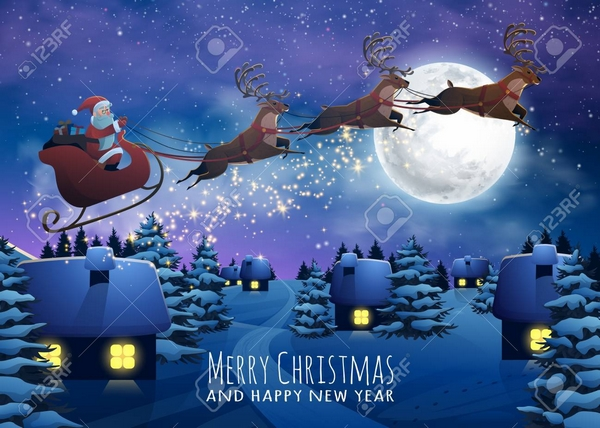 Santa Claus Flying on a Sleigh with Deer. Christmas houses in sn