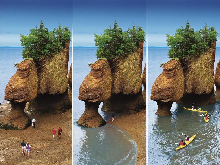 Rochers-Hopewell-Rocks-maree-basse-a-maree-haute-en-accelere